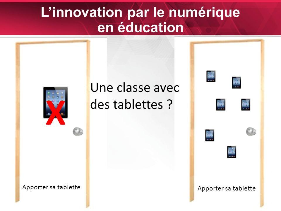 25 Linnovation par le numérique en éducation X Une classe avec des tablettes Apporter sa tablette