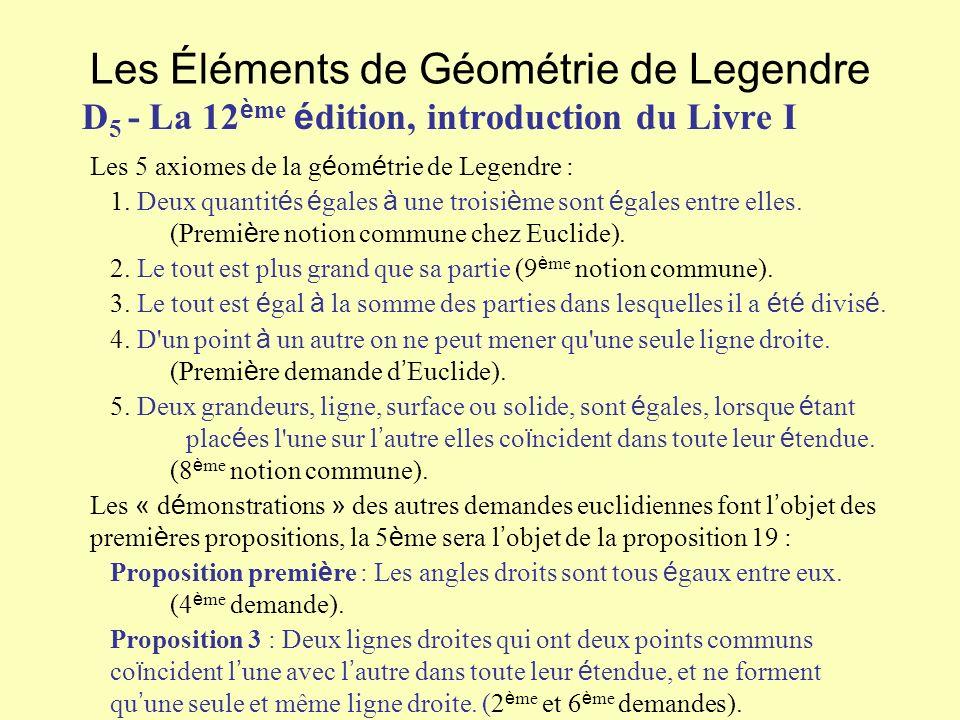 Les Éléments de Géométrie de Legendre D 5 - La 12 è me é dition, introduction du Livre I Les 5 axiomes de la g é om é trie de Legendre : 1. Deux quant