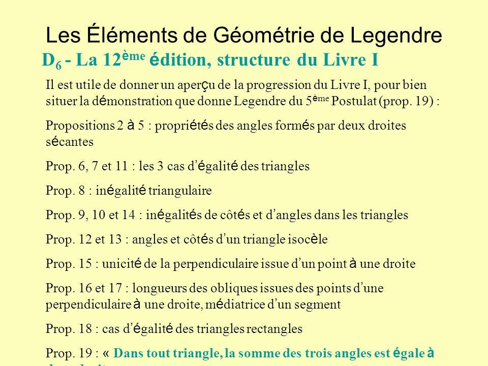 Les Éléments de Géométrie de Legendre D 6 - La 12 è me é dition, structure du Livre I Il est utile de donner un aper ç u de la progression du Livre I,