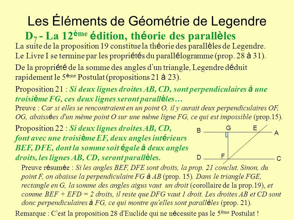 Les Éléments de Géométrie de Legendre D 7 - La 12 è me é dition, th é orie des parall è les La suite de la proposition 19 constitue la th é orie des parall è les de Legendre.