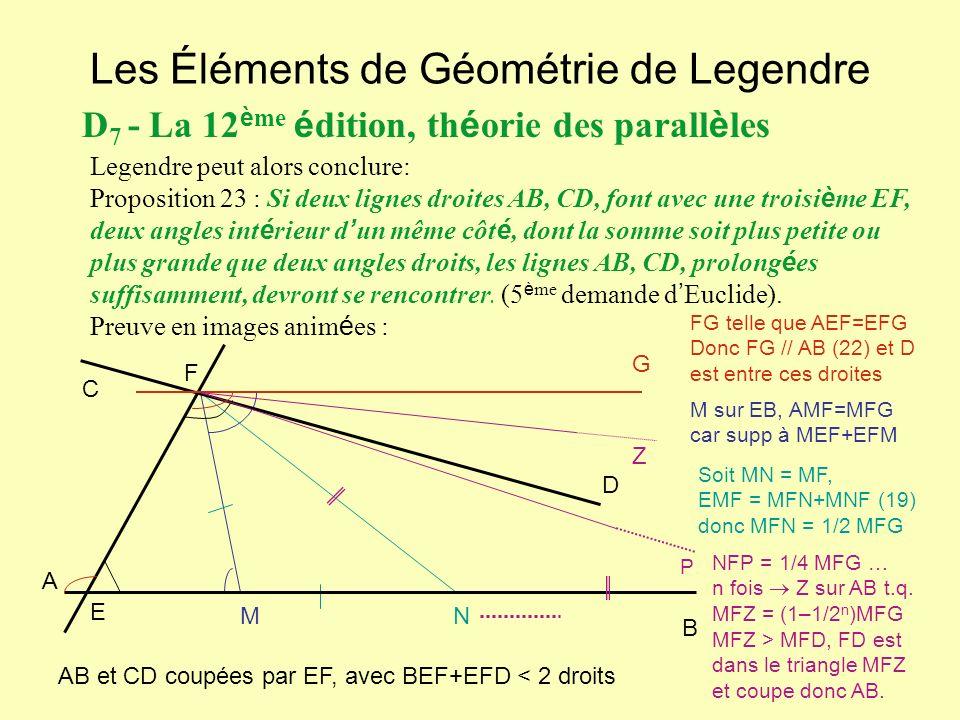 Les Éléments de Géométrie de Legendre D 7 - La 12 è me é dition, th é orie des parall è les Legendre peut alors conclure: Proposition 23 : Si deux lig