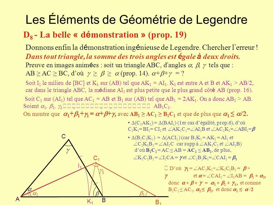 Les Éléments de Géométrie de Legendre D 8 - La belle « d é monstration » (prop. 19) Donnons enfin la d é monstration ing é nieuse de Legendre. Cherche