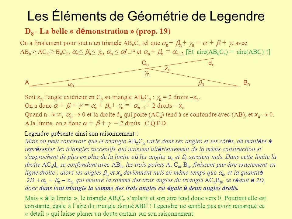 Les Éléments de Géométrie de Legendre D 8 - La belle « d é monstration » (prop. 19) On a finalement pour tout n un triangle AB n C n tel que n + n + n