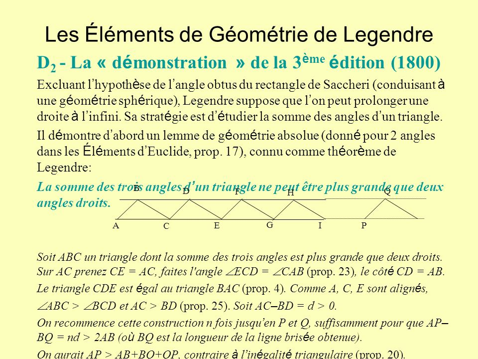Les Éléments de Géométrie de Legendre D 2 - La « d é monstration » de la 3 è me é dition (1800) Excluant l hypoth è se de l angle obtus du rectangle de Saccheri (conduisant à une g é om é trie sph é rique), Legendre suppose que l on peut prolonger une droite à l infini.
