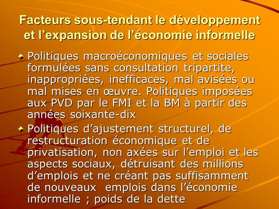 Facteurs sous-tendant le développement et lexpansion de léconomie informelle Politiques macroéconomiques et sociales formulées sans consultation tripa