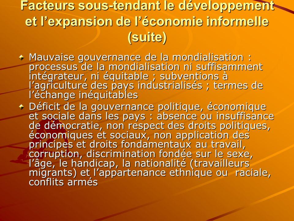 Facteurs sous-tendant le développement et lexpansion de léconomie informelle (suite) Mauvaise gouvernance de la mondialisation : processus de la mondi