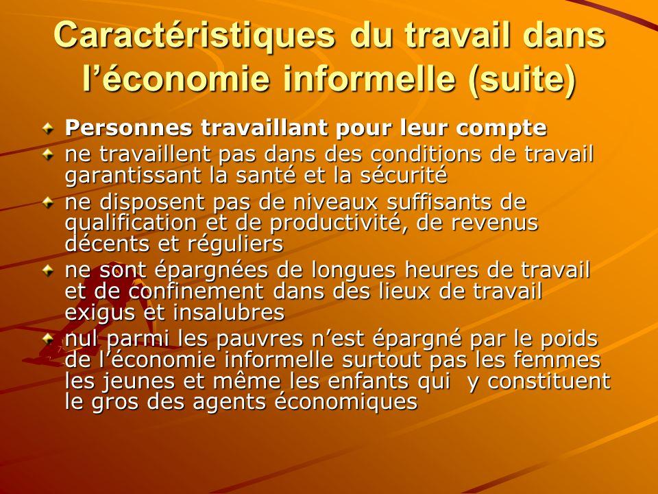 Caractéristiques du travail dans léconomie informelle (suite) Personnes travaillant pour leur compte ne travaillent pas dans des conditions de travail