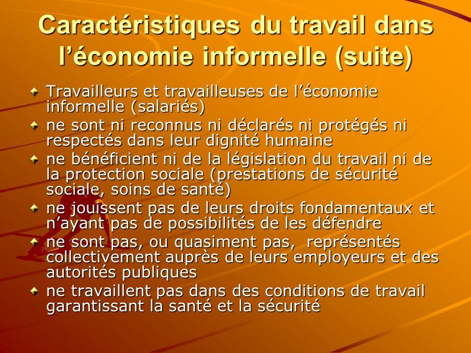 Caractéristiques du travail dans léconomie informelle (suite) Travailleurs et travailleuses de léconomie informelle (salariés) ne sont ni reconnus ni