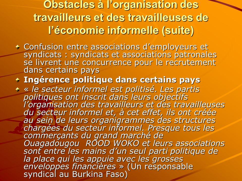 Obstacles à lorganisation des travailleurs et des travailleuses de léconomie informelle (suite) Confusion entre associations demployeurs et syndicats
