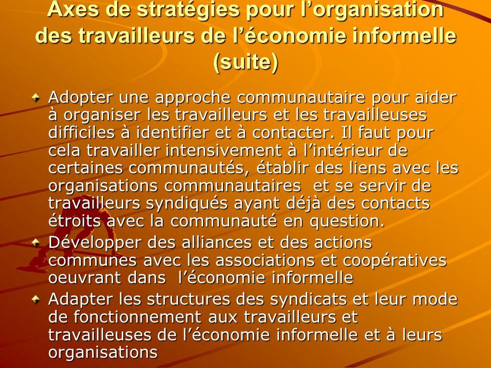 Axes de stratégies pour lorganisation des travailleurs de léconomie informelle (suite) Adopter une approche communautaire pour aider à organiser les t