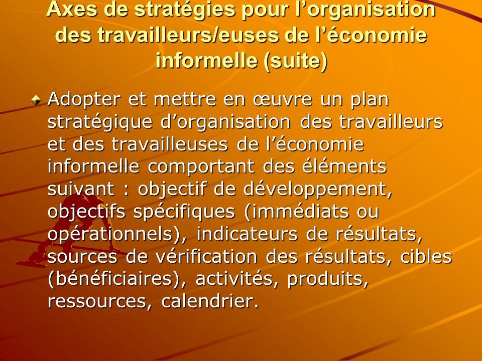 Axes de stratégies pour lorganisation des travailleurs/euses de léconomie informelle (suite) Adopter et mettre en œuvre un plan stratégique dorganisat
