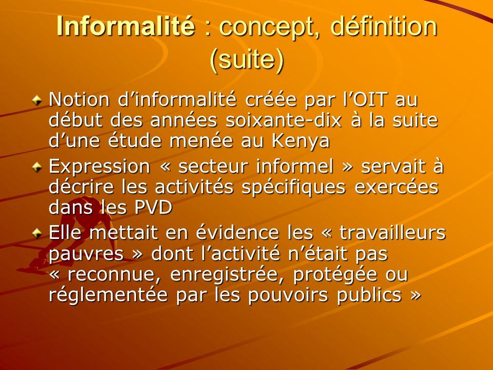 Informalité : concept, définition (suite) Notion dinformalité créée par lOIT au début des années soixante-dix à la suite dune étude menée au Kenya Exp