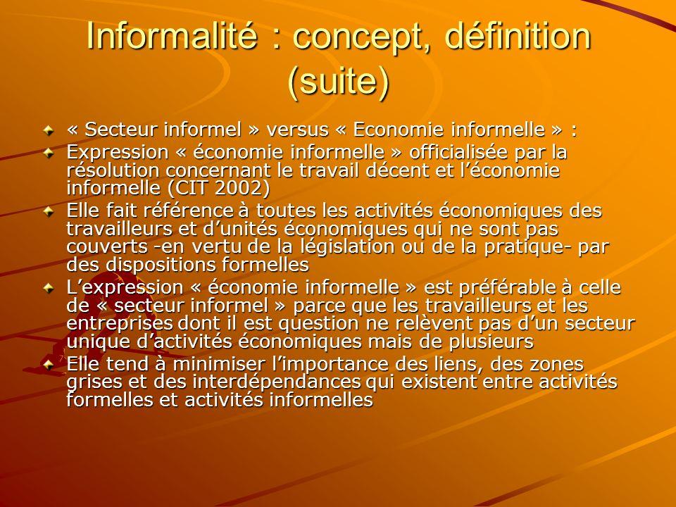 Informalité : concept, définition (suite) « Secteur informel » versus « Economie informelle » : Expression « économie informelle » officialisée par la