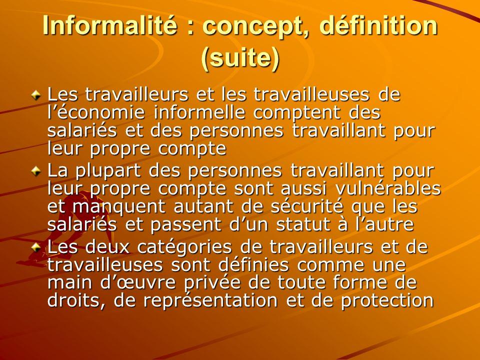 Informalité : concept, définition (suite) Les travailleurs et les travailleuses de léconomie informelle comptent des salariés et des personnes travail