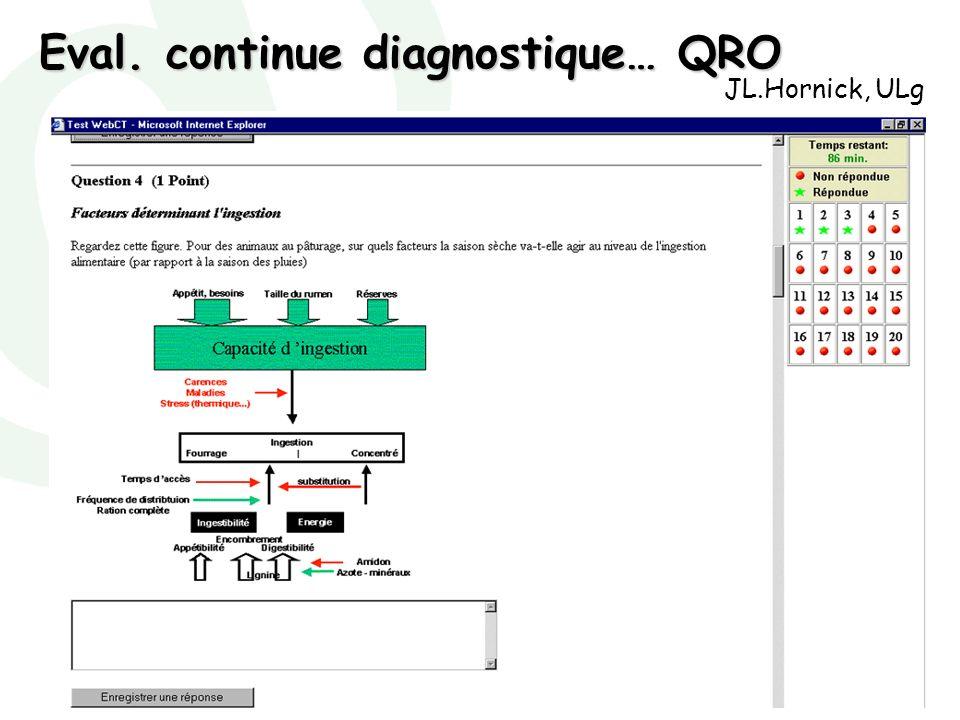 Marianne Poumay - décembre 2007 Eval. continue diagnostique… QRO JL.Hornick, ULg