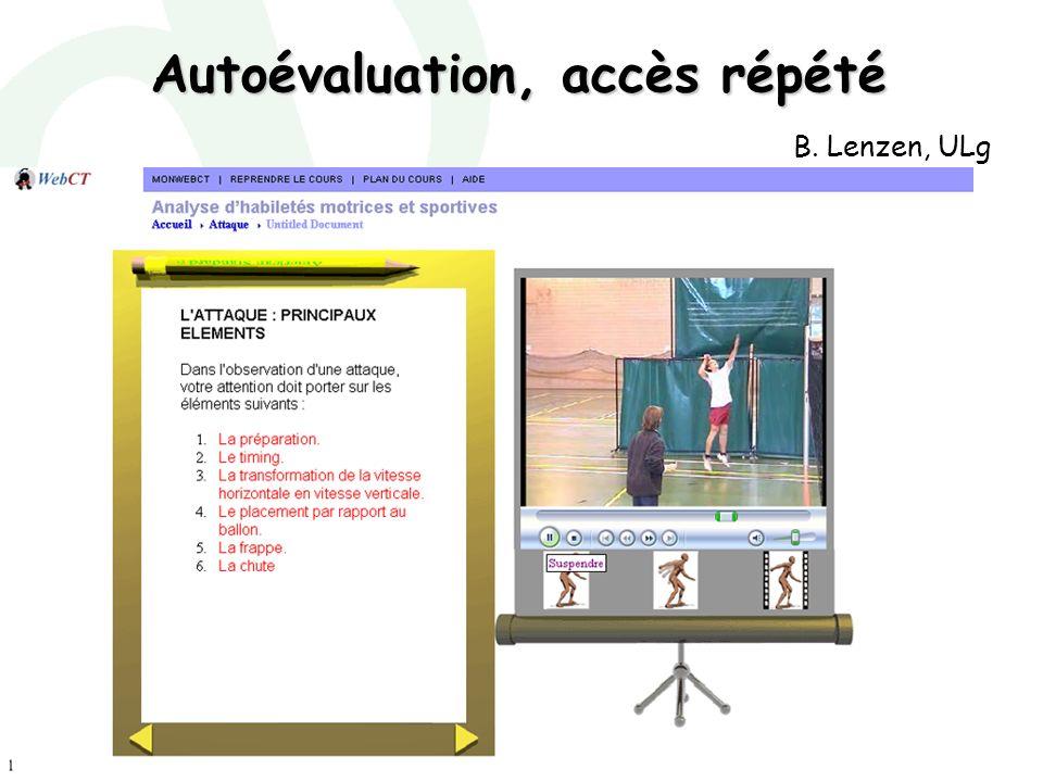 Marianne Poumay - décembre 2007 B. Lenzen, ULg Autoévaluation, accès répété