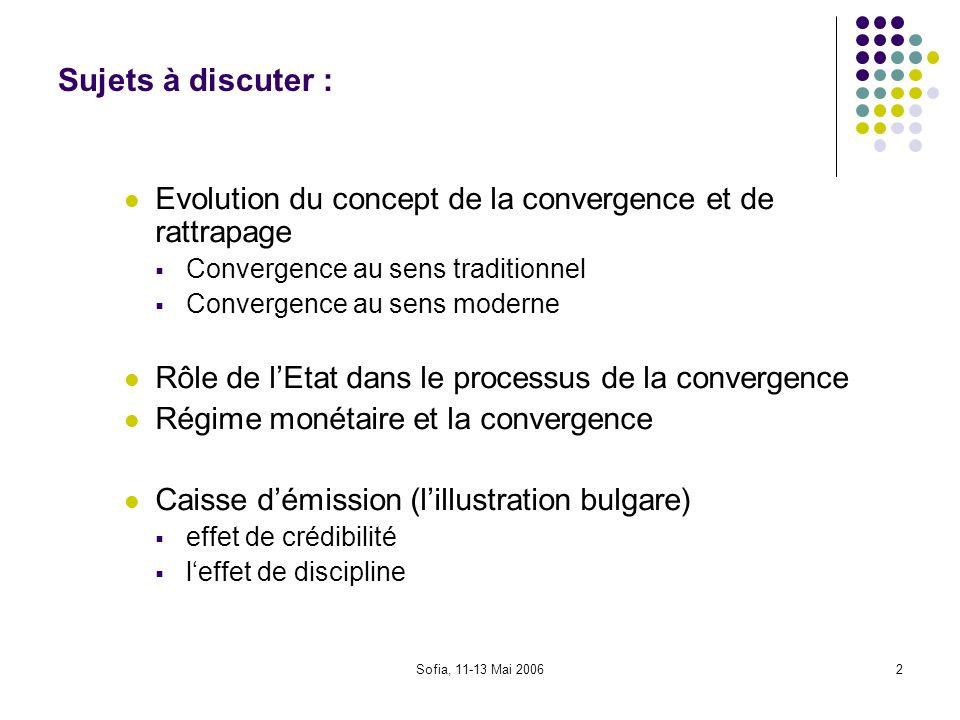 Sofia, 11-13 Mai 20063 Convergence (1) Concept selon le quel les caractéristiques des économies tiennent à se rapprocher avec le temps Condition fondamentale (la liberté des mouvements des facteurs - K, L, technologie etc.) Convergence des revenus, le niveau de la vie (objectif) Convergence des politiques économiques (moyens) UEM, politique monétaire commune: convergence des cycles + des mécanismes de transmission pour mieux gérer le cycle européen, et faire réussir leuro On insiste sur: convergence nominale, réelle, structurelle, légale etc.