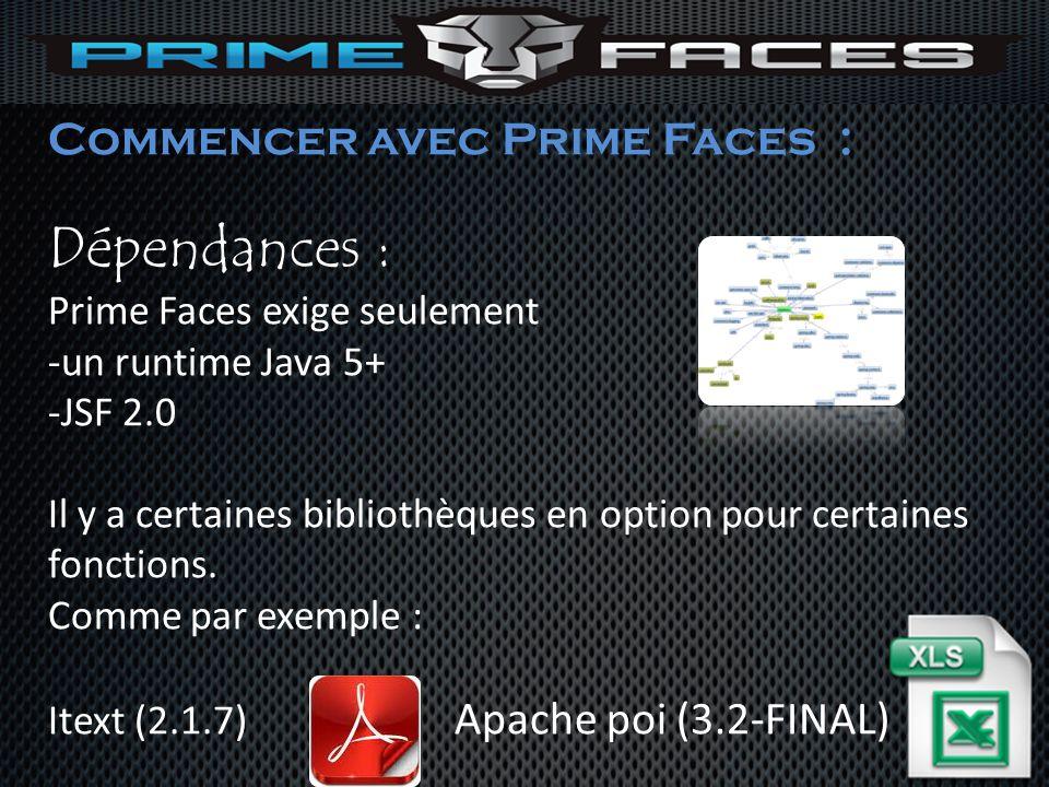 Commencer avec Prime Faces : Dépendances : Prime Faces exige seulement -un runtime Java 5+ -JSF 2.0 Il y a certaines bibliothèques en option pour cert
