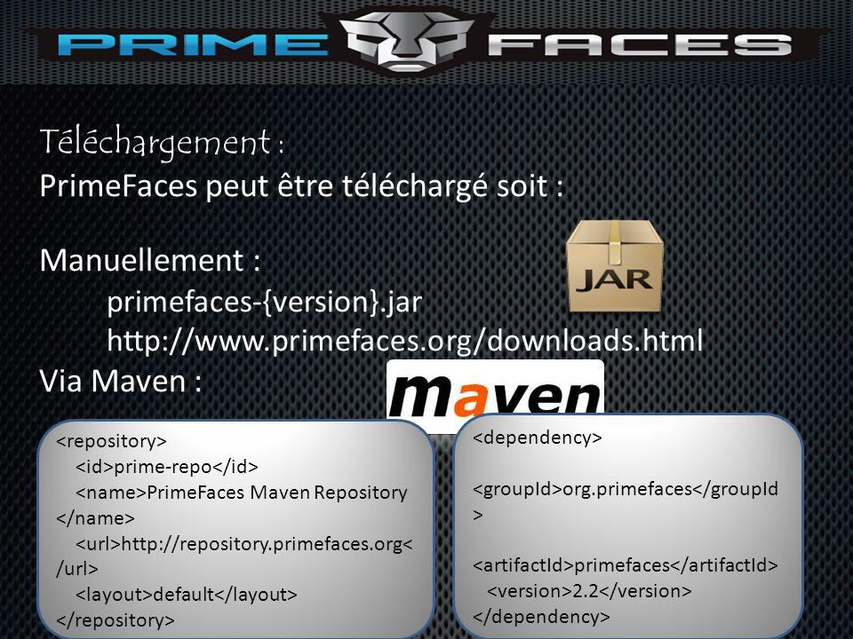 Téléchargement : PrimeFaces peut être téléchargé soit : Manuellement : primefaces-{version}.jar http://www.primefaces.org/downloads.html Via Maven : p