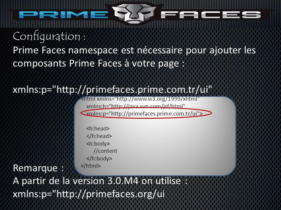 Configuration : Prime Faces namespace est nécessaire pour ajouter les composants Prime Faces à votre page : xmlns:p=