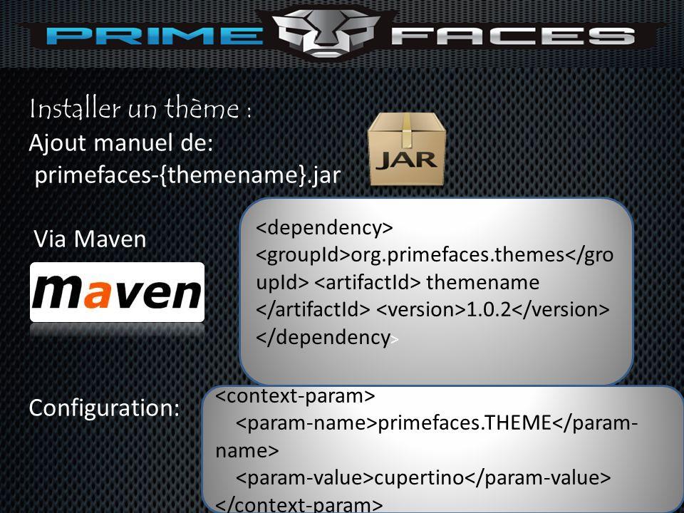 Installer un thème : Ajout manuel de: primefaces-{themename}.jar Via Maven Configuration: org.primefaces.themes themename 1.0.2 primefaces.THEME cuper
