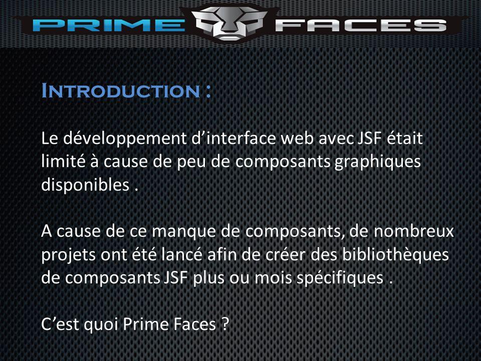 Introduction : Le développement dinterface web avec JSF était limité à cause de peu de composants graphiques disponibles. A cause de ce manque de comp