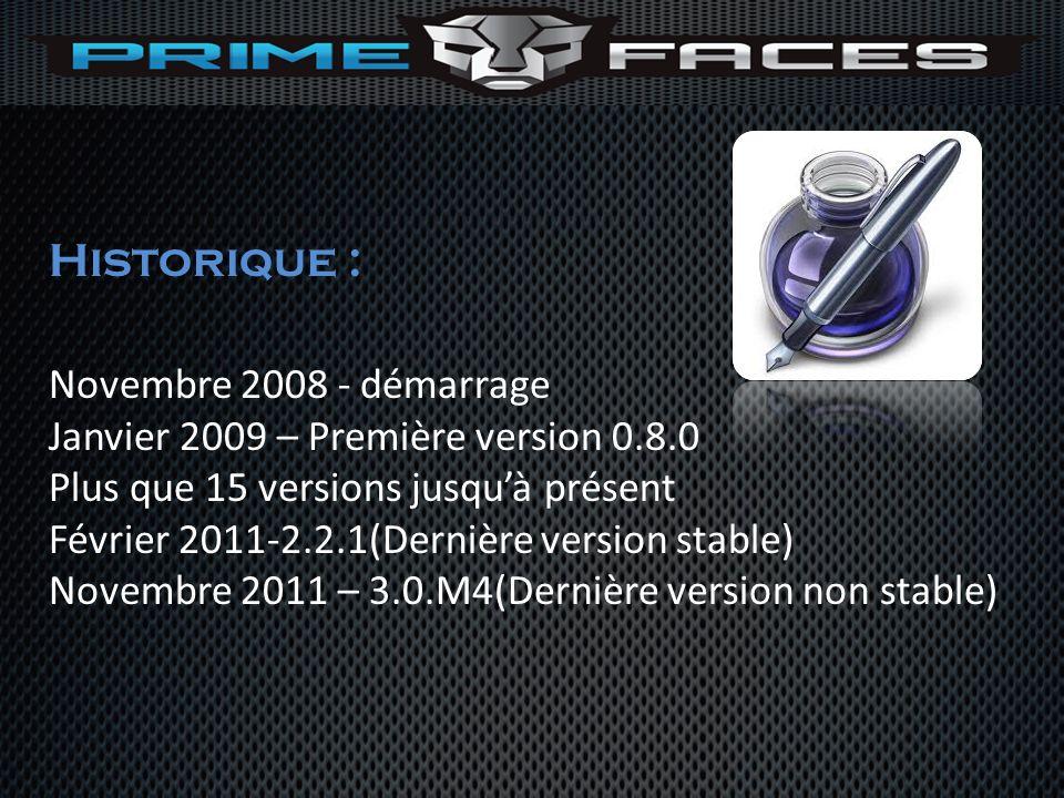 Historique : Novembre 2008 - démarrage Janvier 2009 – Première version 0.8.0 Plus que 15 versions jusquà présent Février 2011-2.2.1(Dernière version s