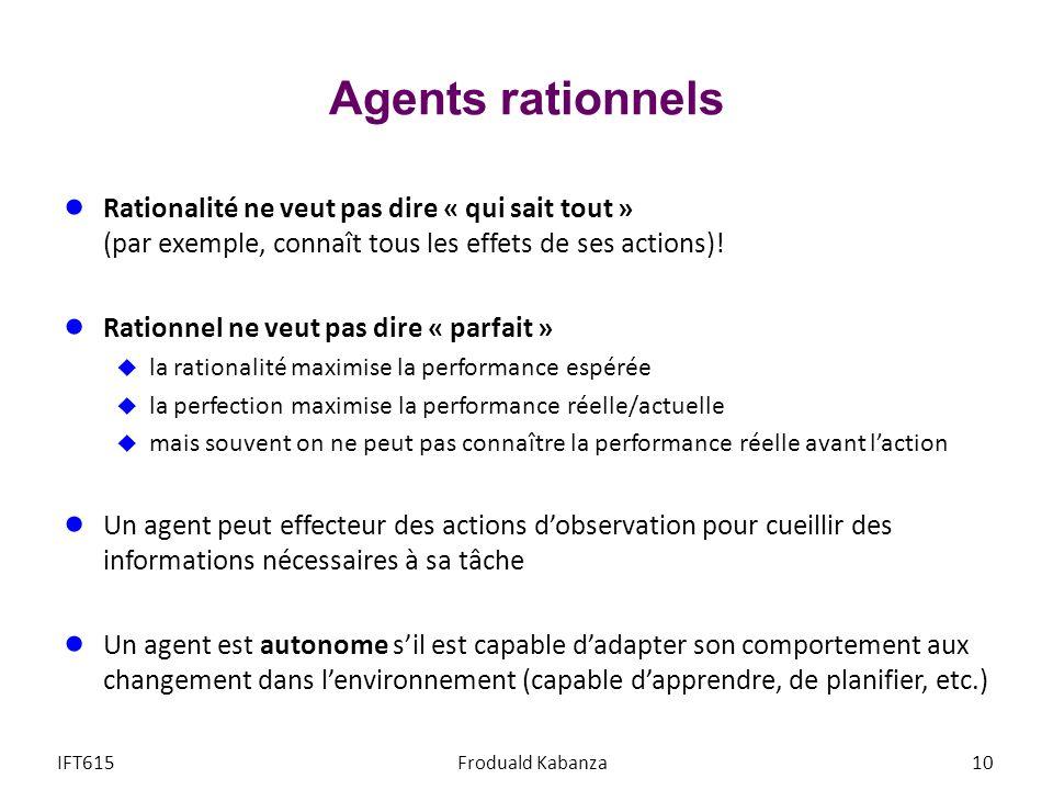 Agents rationnels Rationalité ne veut pas dire « qui sait tout » (par exemple, connaît tous les effets de ses actions)! Rationnel ne veut pas dire « p