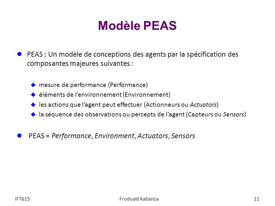 Modèle PEAS PEAS : Un modèle de conceptions des agents par la spécification des composantes majeures suivantes : mesure de performance (Performance) éléments de lenvironnement (Environnement) les actions que lagent peut effectuer (Actionneurs ou Actuators) la séquence des observations ou percepts de lagent (Capteurs ou Sensors) PEAS = Performance, Environment, Actuators, Sensors IFT615Froduald Kabanza11