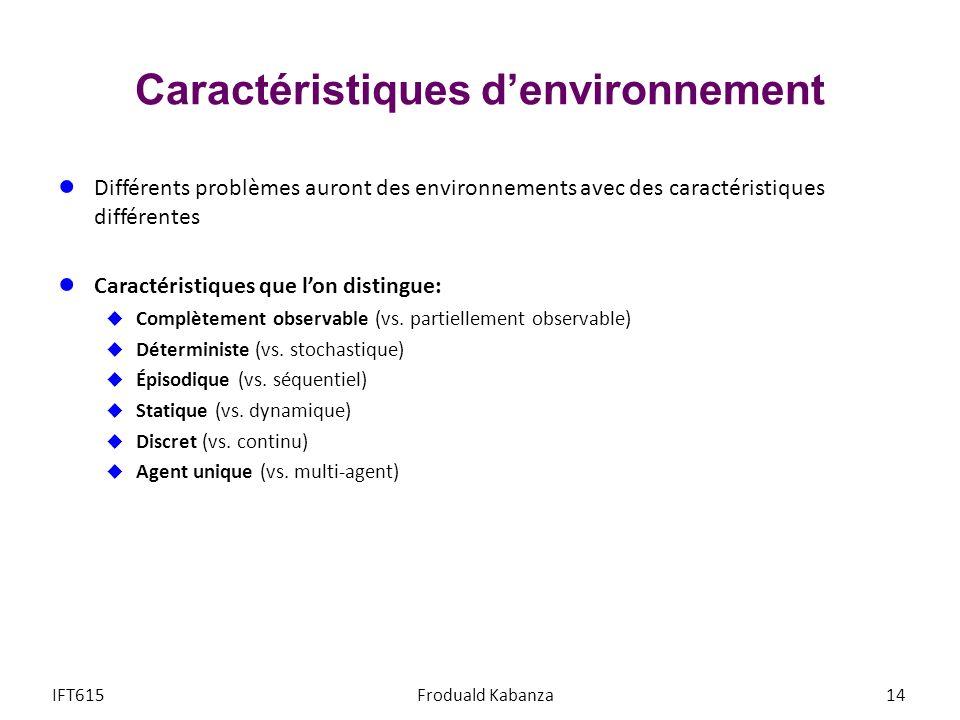Caractéristiques denvironnement Différents problèmes auront des environnements avec des caractéristiques différentes Caractéristiques que lon distingue: Complètement observable (vs.