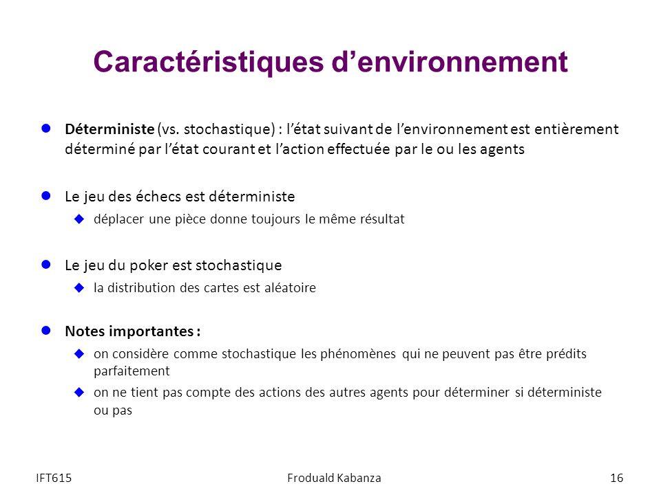 Caractéristiques denvironnement Déterministe (vs. stochastique) : létat suivant de lenvironnement est entièrement déterminé par létat courant et lacti