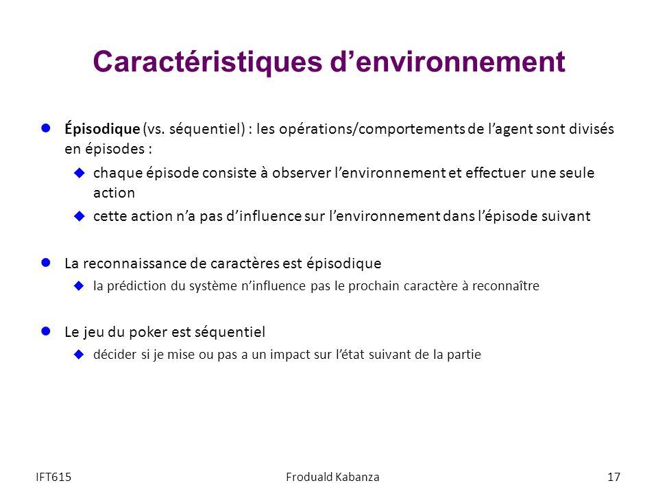 Caractéristiques denvironnement Épisodique (vs. séquentiel) : les opérations/comportements de lagent sont divisés en épisodes : chaque épisode consist