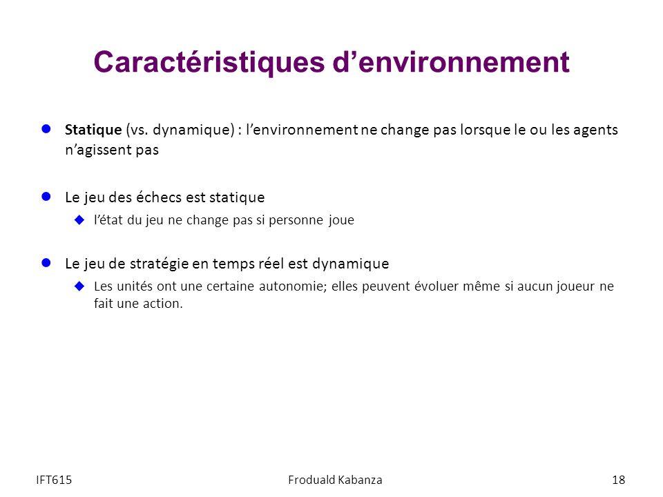 Caractéristiques denvironnement Statique (vs. dynamique) : lenvironnement ne change pas lorsque le ou les agents nagissent pas Le jeu des échecs est s