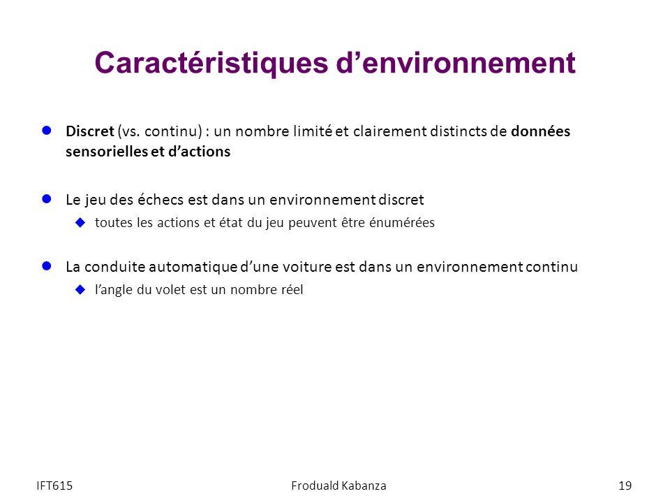Caractéristiques denvironnement Discret (vs. continu) : un nombre limité et clairement distincts de données sensorielles et dactions Le jeu des échecs