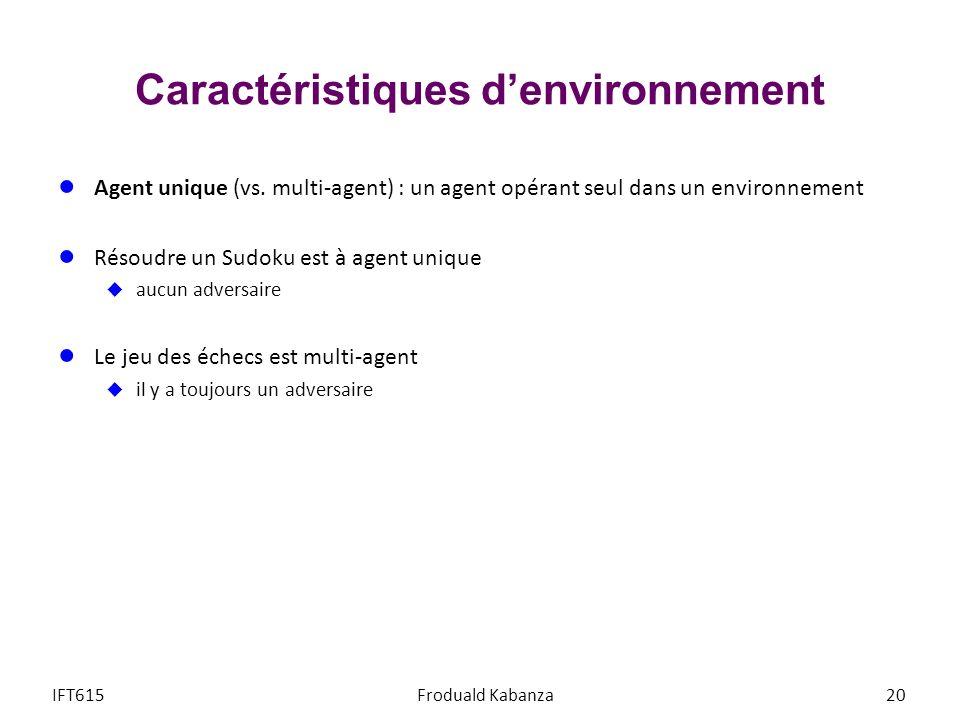 Caractéristiques denvironnement Agent unique (vs. multi-agent) : un agent opérant seul dans un environnement Résoudre un Sudoku est à agent unique auc