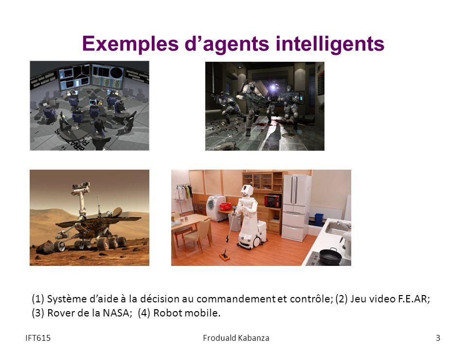 (1) Système daide à la décision au commandement et contrôle; (2) Jeu video F.E.AR; (3) Rover de la NASA; (4) Robot mobile. Exemples dagents intelligen