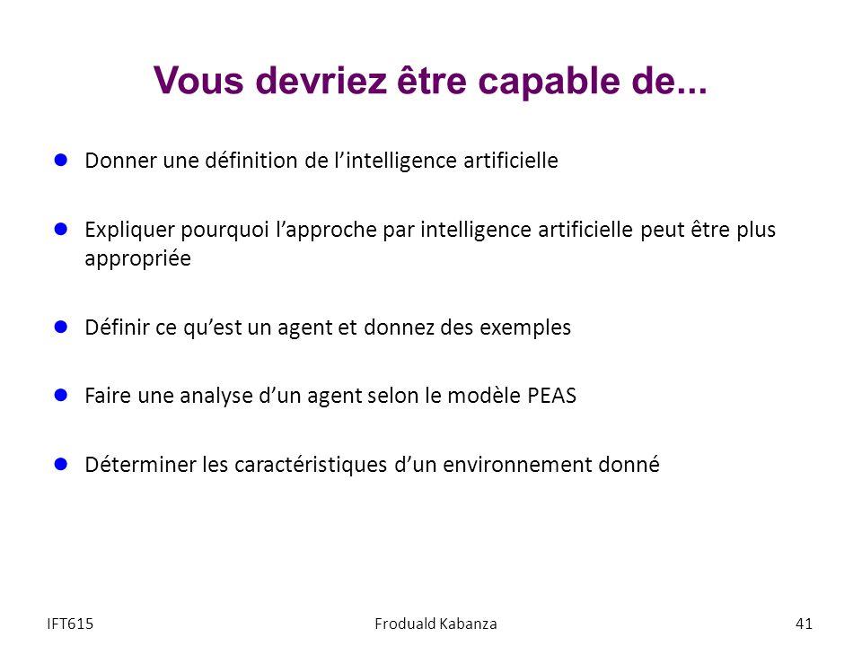 Vous devriez être capable de... Donner une définition de lintelligence artificielle Expliquer pourquoi lapproche par intelligence artificielle peut êt