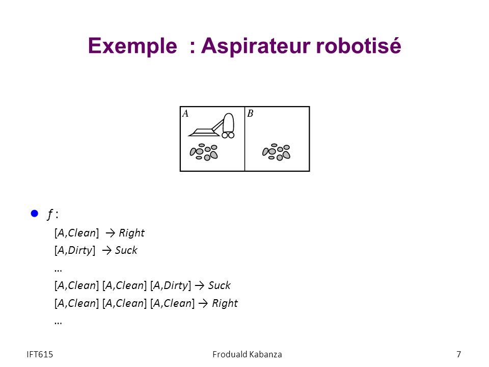 Exemple : Aspirateur robotisé f : [A,Clean] Right [A,Dirty] Suck … [A,Clean] [A,Clean] [A,Dirty] Suck [A,Clean] [A,Clean] [A,Clean] Right … IFT615Frod