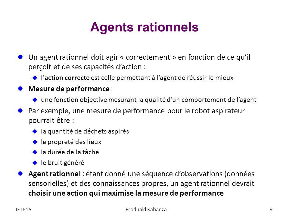 Agents rationnels Un agent rationnel doit agir « correctement » en fonction de ce quil perçoit et de ses capacités daction : laction correcte est cell