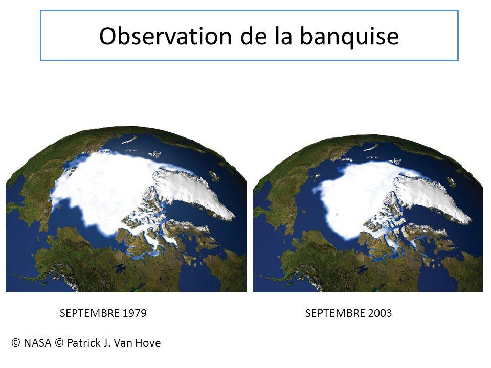 Observation de la banquise SEPTEMBRE 1979 SEPTEMBRE 2003 © NASA © Patrick J. Van Hove