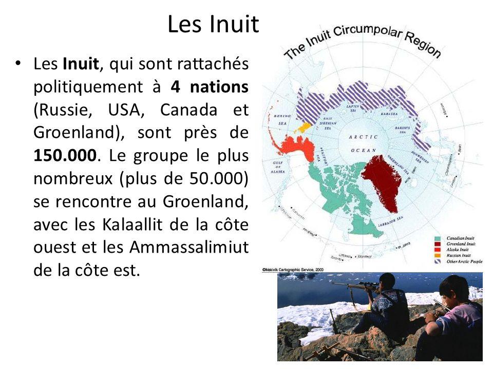 Les Inuit Les Inuit, qui sont rattachés politiquement à 4 nations (Russie, USA, Canada et Groenland), sont près de 150.000.