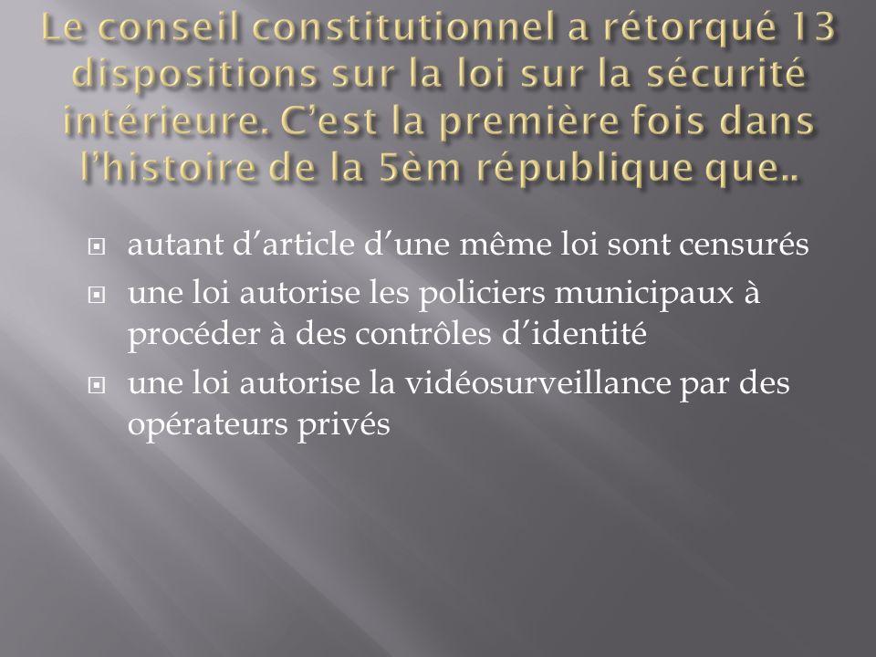 autant darticle dune même loi sont censurés une loi autorise les policiers municipaux à procéder à des contrôles didentité une loi autorise la vidéosurveillance par des opérateurs privés