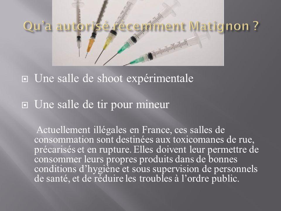Une salle de shoot expérimentale Une salle de tir pour mineur Actuellement illégales en France, ces salles de consommation sont destinées aux toxicomanes de rue, précarisés et en rupture.