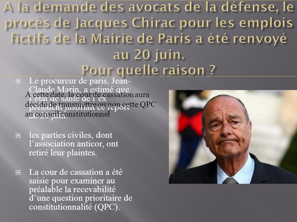 Le procureur de paris, Jean- Claude Marin, a estimé que létat de santé de lex président justifiait ce report au 20 juin.