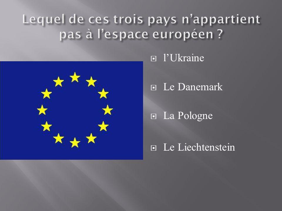 lUkraine Le Danemark La Pologne Le Liechtenstein