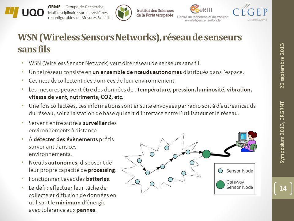 GRMS - Groupe de Recherche Multidisciplinaire sur les systèmes reconfigurables de Mesures Sans-fils WSN (Wireless Sensors Networks), réseau de senseurs sans fils WSN (Wireless Sensor Network) veut dire réseau de senseurs sans fil.