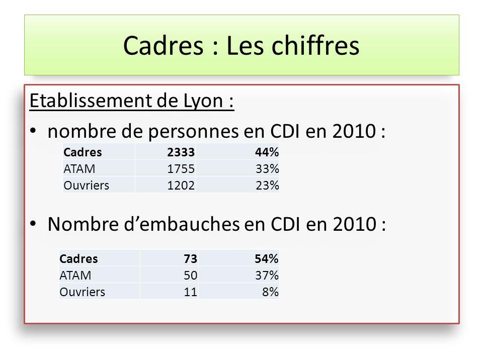 Etablissement de Lyon : nombre de personnes en CDI en 2010 : Nombre dembauches en CDI en 2010 : Etablissement de Lyon : nombre de personnes en CDI en