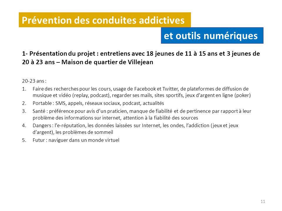 Prévention des conduites addictives 1- Présentation du projet : entretiens avec 18 jeunes de 11 à 15 ans et 3 jeunes de 20 à 23 ans – Maison de quarti