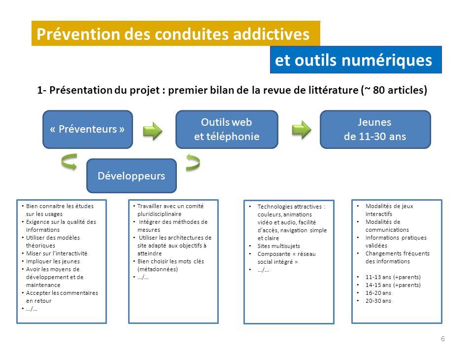 1- Présentation du projet : premier bilan de la revue de littérature (~ 80 articles) Prévention des conduites addictives et outils numériques 6 « Prév