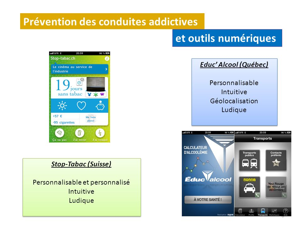 8 Prévention des conduites addictives et outils numériques Stop-Tabac (Suisse) Personnalisable et personnalisé Intuitive Ludique Stop-Tabac (Suisse) P